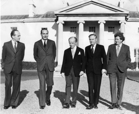 French prime minister Jacques Chirac (second from left), accompanied by his foreign minister, Jean Sauvagnargues (left), visited Áras an Uachtaráin in November 1974 where they were received by the president Erskine Childers, the taoiseach Liam Cosgrave and the minister for foreign affairs, Dr Garret FitzGerald.  Photograph: Eddie Kelly/The Irish Times