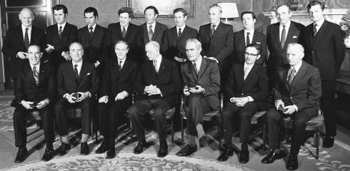 Coalition government group in 1974 - Back row, from left:  Tom Fitzpatrick, Michael O'Leary, Tom O'Donnell, Garret FitzGerald, Conor Cruise O'Brien, Richard Burke, Peter Barry, Justin Keating, Paddy Cooney, Declan Costello (Attorney General) : Front, from left: Jimmy Tully, Paddy Donegan, Liam Cosgrave, president Eamon de Valera, Brendan Corish, Richie Ryan, Mark Clinton. Photograph: Pat Langan/The Irish Times