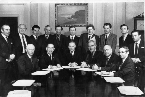 Cabinet group in March 1973: Front row from left: Mark Clinton; James Tully; taoiseach Liam Cosgrave; Brendan Corish; Patrick Donegan and Richie Ryan. Back row from left: Patrick Cooney, Tom Fitzpatrick, Tom O'Donnell, Peter Barry, Conor Cruise O'Brien, Richard Burke, Garret FitzGerald, Michael O'Leary, Declan Costello and Justin Keating. Photograph: Pat Langan/The Irish Times