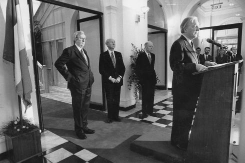 Former taoisigh Dr Garret Fitzgerald, Jack Lynch and Liam Cosgrave listen to Charles Haughey's speech in January 1990. Photograph: The Irish Times