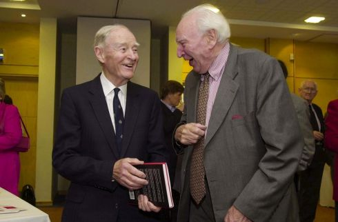 Former taoiseach Liam Cosgrave and Prof Patrick Lynch at a book launch at the Institute of Public Administration, Dublin, in 2001. Photograph: Dara Mac Donaill/The Irish Times