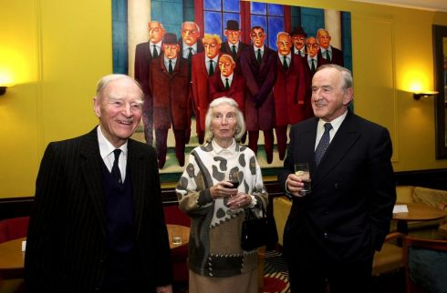 Liam Cosgrave with his wife Vera and Albert Reynolds at an exhibition of work by artist Graham Knuttel in 2002. Photograph: Cyril Byrne/The Irish Times