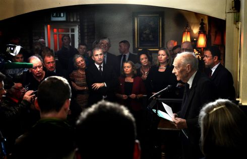 Former taoiseach Liam Cosgrave speaking on the occasion of the unveiling of a plaque celebrating the birth of his father WT Cosgrave at Kenny's bar on James's Street in 2013. Photograph: Cyril Byrne/The Irish Times
