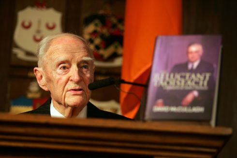 "Former taoiseach Liam Cosgrave speaking at the launch of a biography of John A Costello ""The Reluctant Taoiseach"".  Photograph: Alan Betson/The Irish Times"
