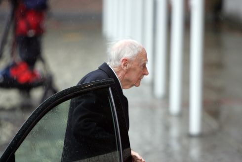 Former taoiseach Liam Cosgrave arriving for the inauguration of Michael D Higgins as President of Ireland at Dublin Castle in November 2011. Photograph: Cyril Byrne/The Irish Times
