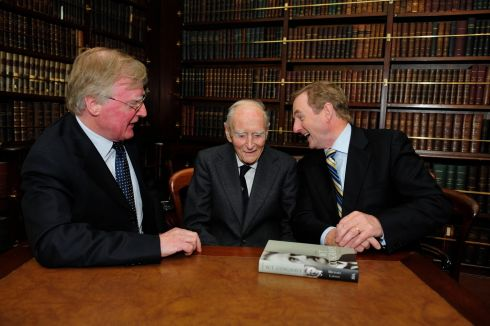 Enda Kenny with former taoiseach Liam Cosgrave and author Michael Laffan at the launch of a biography about WT Cosgrave in The Royal Irish Academy in 2014. Photograph: Aidan Crawley/The Irish Times