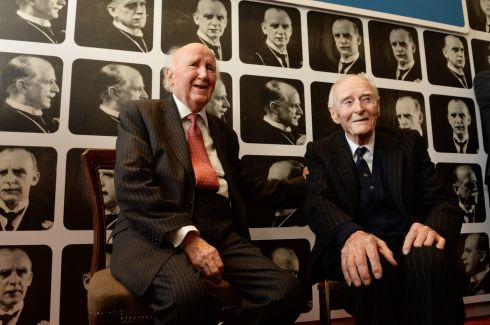 Alfie Byrne's son Paddy and Liam Cosgrave at the opening of an exhibition in the Little Museum in 2015 to celebrate the life of his father. Photograph: Cyril Byrne/The Irish Times
