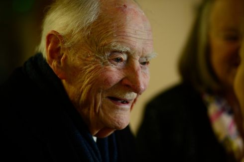 Former taoiseach Liam Cosgrave at James' Street CBS  for the 1916 exhibition to commemorate the  Rising at the school in 2016. Photograph: Cyril Byrne/The Irish Times