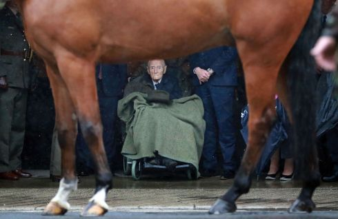 Former taoiseach Liam Cosgrave at the naming ceremony of the recently refurbished Army Equitation School Arena as the W.T. Cosgrave Arena in McKee Barracks, Dublin in May 2017. Photograph: Nick Bradshaw/The Irish Times
