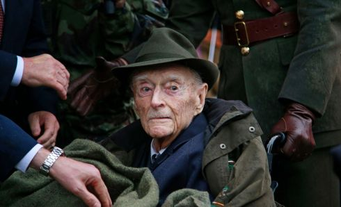 Former taoiseach Liam Cosgrave at the ceremony in McKee Barracks in May. Photograph: Nick Bradshaw/The Irish Times