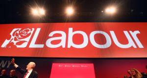 Labour Party leader Jeremy Corbyn delivers his keynote speech during the Labour Party conference in Brighton. Photograph: Neil Hall/EPA