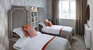 The bedroom of an apartment at Orchard Hall, Hamilton Park, Castleknock decorated by Nicola Pollard