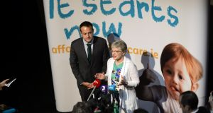 Taoiseach Leo Varadkar and Minister for Children Katherine Zappone at the launch of a childcare support campaign. Childcare costs are preventing people from working, an Oireachtas committee said. Photograph: Cyril Byrne
