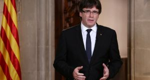 Catalan regional president Carles Puigdemont had indicated he would declare independence from Spain. File photograph: Catalan Government/Jordi Bedmar via Reuters