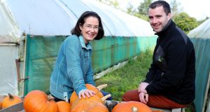 Pumpkin grower Denise Buckley, who runs a third-generation family farm in Swords, Co Dublin, with Keelings category manager Chris Stafford. Photograph: Maxwells