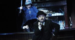 Donal Gallery (Policeman) and David Pearse (Leopold Bloom) in James Joyce's Ulysses, adapted by Dermot Bolger, at the Abbey Theatre. Photograph: Ros Kavanagh