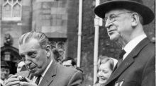 Attending the Michael Collins memorial mass in The Church of The Most Holy Trinity, Dublin Castle, in June 1969, were (right) President Éamon de Valera and Mr Sean Lemass FF TD. Photograph: Paddy Whelan