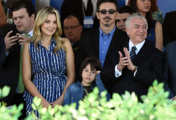 Brazilian president Michel Temer (right), his wife Marcela and their son Michel at an Independence Day parade in Brasilia in September this year. Photograph: Getty Images