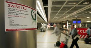 Signs posted in Dublin Airport in 2009 warning about swine flu. Photograph: Frank Miller