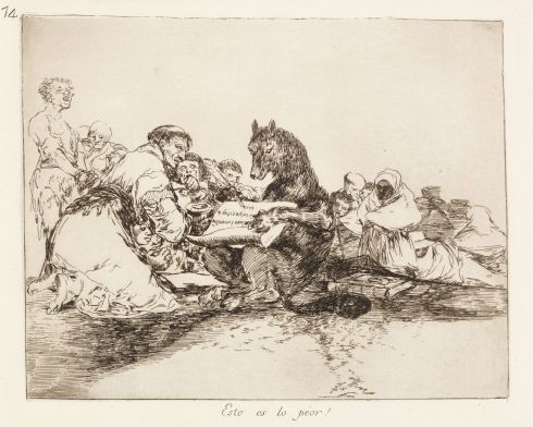 Forty of the prints will be on display in a special exhibition at the Chester Beatty Library opening on 6 October.    Francisco Goya (1746-1828 - This is the [absolute] worst! (Esto es lo peor!)
