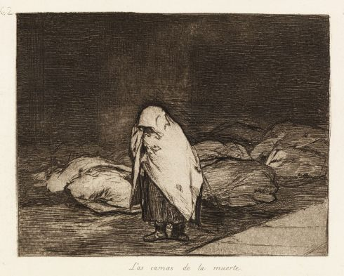 The prints are complete with caustic comments such as: what courage; the deathbeds; this is the truth. Francisco Goya (1746-1828) - The deathbeds (Las camas de la muerte)
