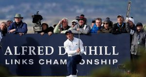 Ireland's Paul Dunne hits a tee shot during the first round at the Dunhill Links Championship. Photo: Craig Brough/Reuters