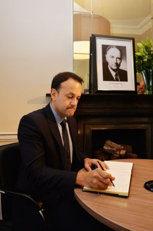 CONDOLENCES FOR COSGRAVE: Taoiseach Leo Varadkar signs a book of condolences after the death of former taoiseach Liam Cosgrave, at Fine Gael party headquarters in Mount Street, Dublin. Photograph: Alan Betson/The Irish Times