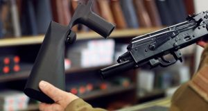 Manufacturers of bump stocks, which increase the firing speed of rifles, said they were overrun with orders. Photograph: George Frey/Getty Images