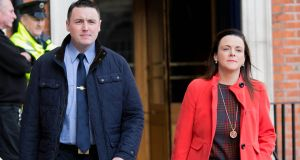 Garda Keith Harrison and Marisa Simms in Dublin Castle where the Charleton tribunal is taking place. Photograph: Gareth Chaney/Collins