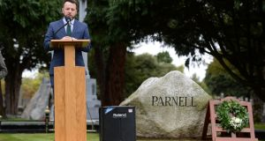 Colum Eastwood, leader of the SDLP, delivering the annual Parnell Commemoration Lecture and graveside oration,  at Glasnevin Cemetery, Dublin, last weekend. Photograph: Dara Mac Dónaill