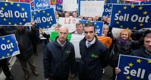 IFA chairman Angus Woods and  IFA president Joe Healy during a protest outside the EU Commission in Dublin. Photograph: Gareth Chaney Collins