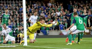 Northern Ireland goalkeeper Michael McGovern makes a save. Photograph: William Cherry/Presseye/Inpho