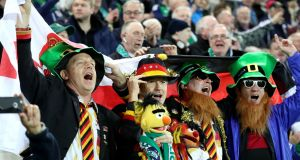 German fans celebrate in Windsor Park. Photograph: William Cherry/Presseye/Inpho