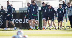 Ireland arrive for training on Friday ahead of their crucial double header against Moldova and Wales. Photograph: Ryan Byrne/Inpho