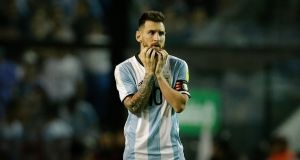 Argentina's Lionel Messi during his team's draw with Peru at La Bombonera stadium in Buenos Aires. Photograph: PA