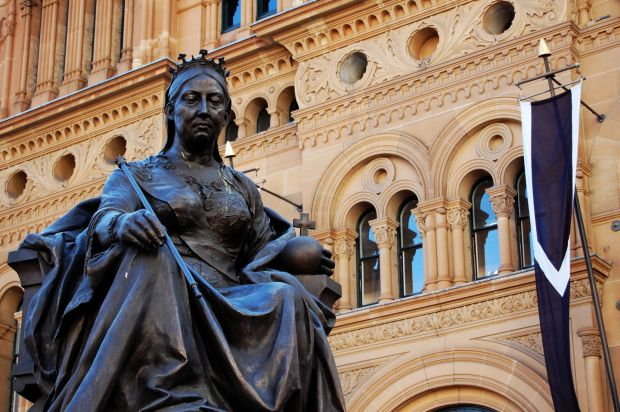 The statue of Queen Victoria in front of the QVB in Sydney, which was removed from public display in Dublin after independence