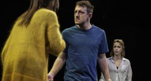 Clare Dunne (Sylvia), Alex Kowak (Billy) and Fiona Bell (Beth) in Tribes at the Gate Theatre