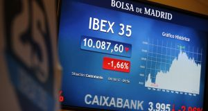 Spanish stock index IBEX35 dropped 3 per cent last Wednesday – but soon recovered the following day as most Ibex 35 stocks companies have little exposure to Catalonia. Photograph: EPA/MARISCAL