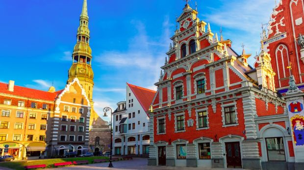 City Hall Square, with the House of the Blackheads and Saint Peter's church, in Riga, Latvia