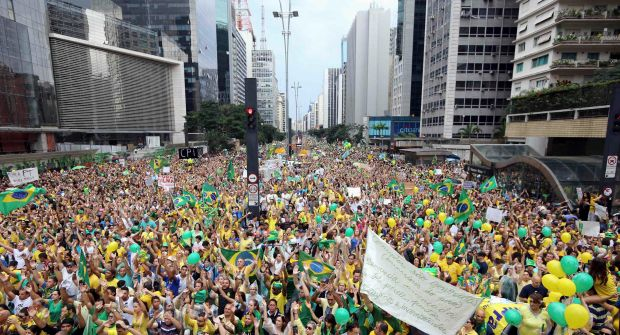 Demonstrators attend a protest against Brazil's president Dilma Rousseff in Sao Paulo on March 15th, 2015. Photograph: Paulo Whitaker/Reuters