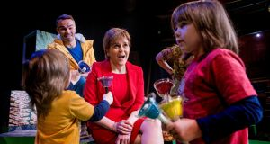 Scotland's first minister Nicola Sturgeon  at  The Ark centre in Temple Bar, Dublin, with  brothers Aidan King (4) and Cillian (6) from Baldoyle, Co Dublin.  Photograph: Brenda Fitzsimons