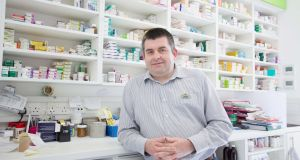 Pharmacist Tomas Conefrey of Conefrey's Pharmacy, Pearse St, Dublin. Photograph: Tom Honan.