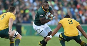 South Africa prop Tendai Mtawarira in action against Australia last month. His absence this weekend is a massive blow to the home side. Photograph: Johan Pretorius/Gallo Images/Getty Images