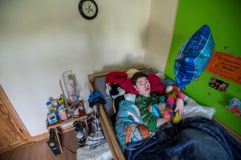 LEFT BEHIND: Brendan Maginnis (13) is profoundly disabled. He and his mother Tracy are in need of social housing. Photograph: Brenda Fitzsimons/The Irish Times