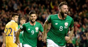 Ireland's Daryl Murphy celebrates scoring his first goal. Photograph: Clodagh Kilcoyne/Reuters