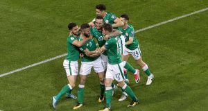 Ireland's Daryl Murphy celebrates his first goal with team-mates during the World Cup qualifier against Moldova. Photograph: Gary Carr/Inpho