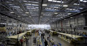 More than 1,000 people in Bombardier's Belfast plant are directly employed manufacturing wings for CSeries planes. Photograph: Clodagh Kilcoyne/Reuters