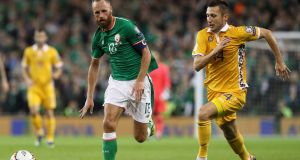Republic of Ireland captain  David Meyler in action during the World Cup qualifier against Moldova at the Aviva Stadium. Photograph:  Brian Lawless/PA Wire