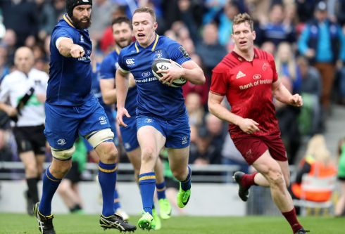 Leinster's Rory O'Loughlin runs in his side's second try. Photograph: Billy Stickland/Inpho