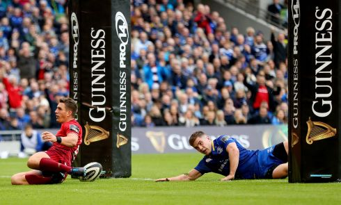 Munster's Ian Keatley scores his side's first try. Photograph: James Crombie/Inpho